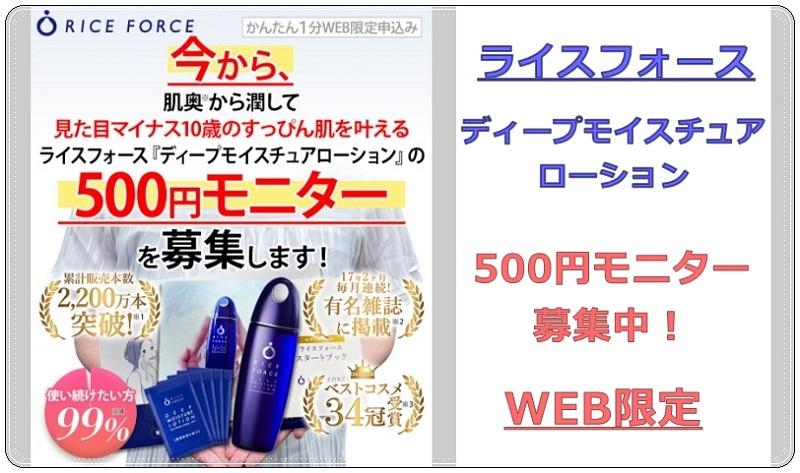 ライスフォースディープモイスチュアローション500円モニター